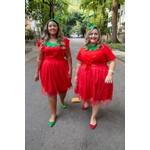 Saia Tule Glitter Vermelha Fantasia - Plus Size