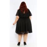 Vestido Crepe Preto Poá Preto - Plus Size