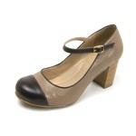 Sapato Feminino Linha Peep Toe Couro Legítimo Café/Taupe