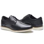 Sapato Casual Masculino D&R Shoes Em Couro Legitimo Preto
