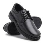 Sapato Masculino Conforto em Couro Carneiro Legitimo Luflex Preto.