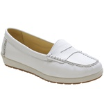 Sapato Feminino Mocassim Em Couro Legítimo Branco