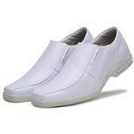 Sapato Social Masculino Bico Quadrado em Couro Sintetico Branco