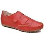 Sapatênis Tênis Casual Feminino Couro Legítimo Vermelho Fecho Velcro