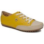 Sapatênis Tênis Casual Feminino Em Couro Legítimo Amarelo Com Bege