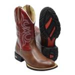 Bota Texana Country Masculina Em Couro Legítimo Marrom Com Vermelho