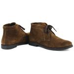 Bota Feminina Casual Desert Boots Chelsea em Couro Camurça Legítimo Café