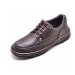 Sapato Masculino Conforto Em Couro Marrom