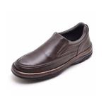 Sapato Masculino Conforto Liso Em Couro Marrom