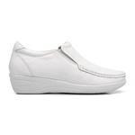 Sapato Anabela Feminino Conforto Couro Legítimo Mager Branco.