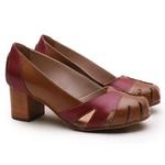 Sapato Feminino Retrô Bahamas Em Couro Legítimo Chocolate/Chilli