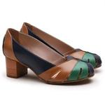 Sapato Feminino Retrô Bahamas Em Couro Legítimo Marinho/Verde/Whisky