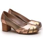 Sapato Feminino Retrô Bahamas Em Couro Legítimo Prata Velho/Bronze/Ouro