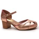 Sapato Feminino Retrô Bahamas Em Couro Legítimo Bronze/Pink
