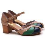 Sapato Feminino Retrô Bahamas Em Couro Legítimo Verde/Marinho/Turquesa/Taupe