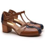 Sapato Feminino Retrô Bahamas Em Couro Legítimo Marinho/Chocolate/Taupe