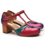 Sapato Feminino Retrô Bahamas Em Couro Legítimo Royal/Pink/Turquesa