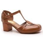 Sapato Feminino Retrô Bahamas Em Couro Legítimo Taupe/Whisky/Chocolate