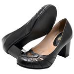 Sapato Feminino Couro Legítimo Preto Linha Retro