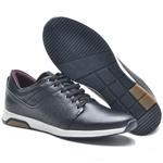Tenis Casual Masculino Jogger NV Couro Preto-Ref 7600 P