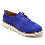 Sapato Oxford Feminino em Couro Camurça Azul