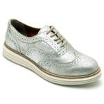 Sapato Oxford Feminino em Couro Camurça Prata