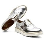 Sapato Oxford Feminino Em Couro Specchio Prata