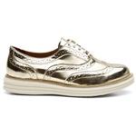 Sapato Oxford Feminino Em Couro Specchio Ouro Light