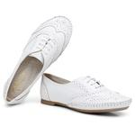 Sapato Oxford Feminino em Couro Legítimo Confort Branco