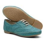 Sapato Oxford Feminino em Couro Legítimo Confort Turquesa
