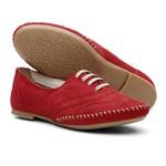 Sapato Oxford Feminino Em Couro Legítimo Confort Vermelho