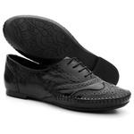 Sapato Oxford Feminino Em Couro Legítimo Confort Preto
