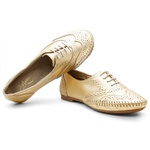 Sapato Oxford Feminino em Couro Legítimo Ouro