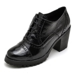 Sapato Feminino Oxford em Couro Legitimo Verniz Preto