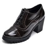 Sapato Feminino Oxford em Couro Legitimo Verniz Café