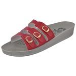 Sandália Conforto Vermelha 3 Fivelas