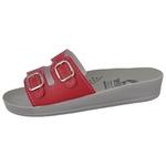 Sandália Conforto Vermelha 2 Fivelas