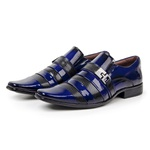 Sapato Social Verniz Dark Blue Exclusivo Gofer - 0232 - Preto Azul