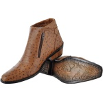 Bota Country Couro Avestruz Com Palmilha Gel - Avestruz - Whisky