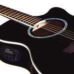 Violão Di Giorgio Iron Black - Cordas de Aço, Eletroacústico, Mini Jumbo Cutaway