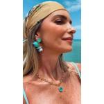 Brinco Borboleta Resinado 2 em 1 Esmeralda Colombiana No Banho de Ouro 18K