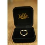 Anel Coração Vazado Cravejado com Micro Zircônia No Banho de Ouro 18k