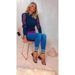 Sandalia Feminina Tiras Coloridas Salto Bloco - Vicenza