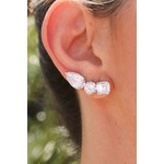 Brinco Ear Cuff Cristal no Banho de Ródio