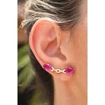 Brinco Ear Cuff Fucsia No Banho de Ouro 18K