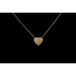 Colar Coração Todo Cravejado com Micro Zircônia no Banho de Ouro 18K