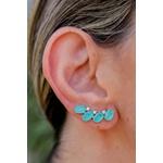 Brinco Ear Cuff Turmalina Azul NO Banho de Ródio