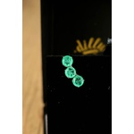 Brinco Ear Cuff Oval Esmeralda Colombiana No Banho de Ródio