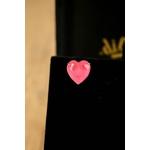 Brinco Coração Pink no Banho de Ródio