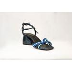 Sandália Salto Bloco Amarração Azul Couro - Vicenza